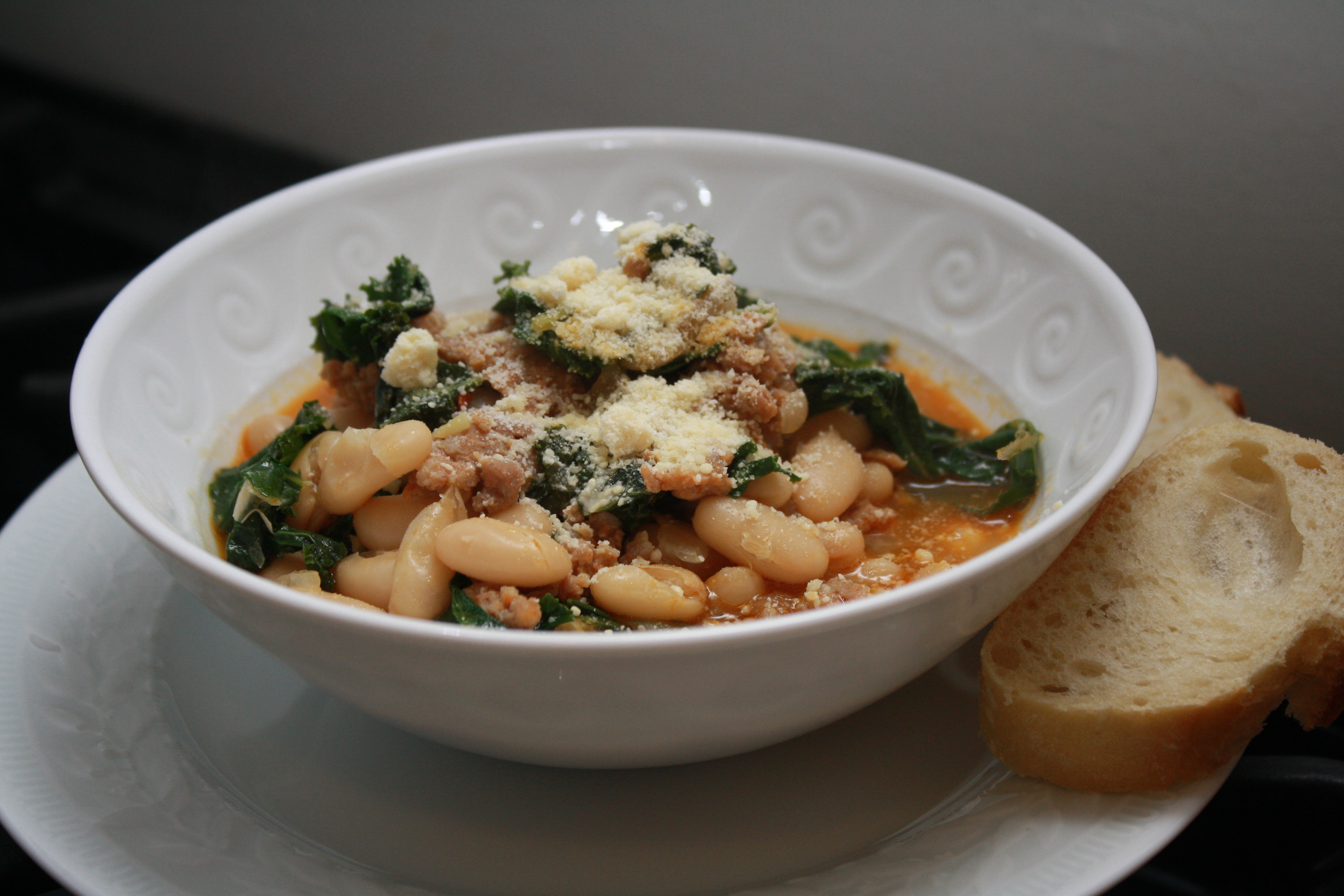 Spicy Sausage, Escarole & White Bean Stew Recipe — Dishmaps