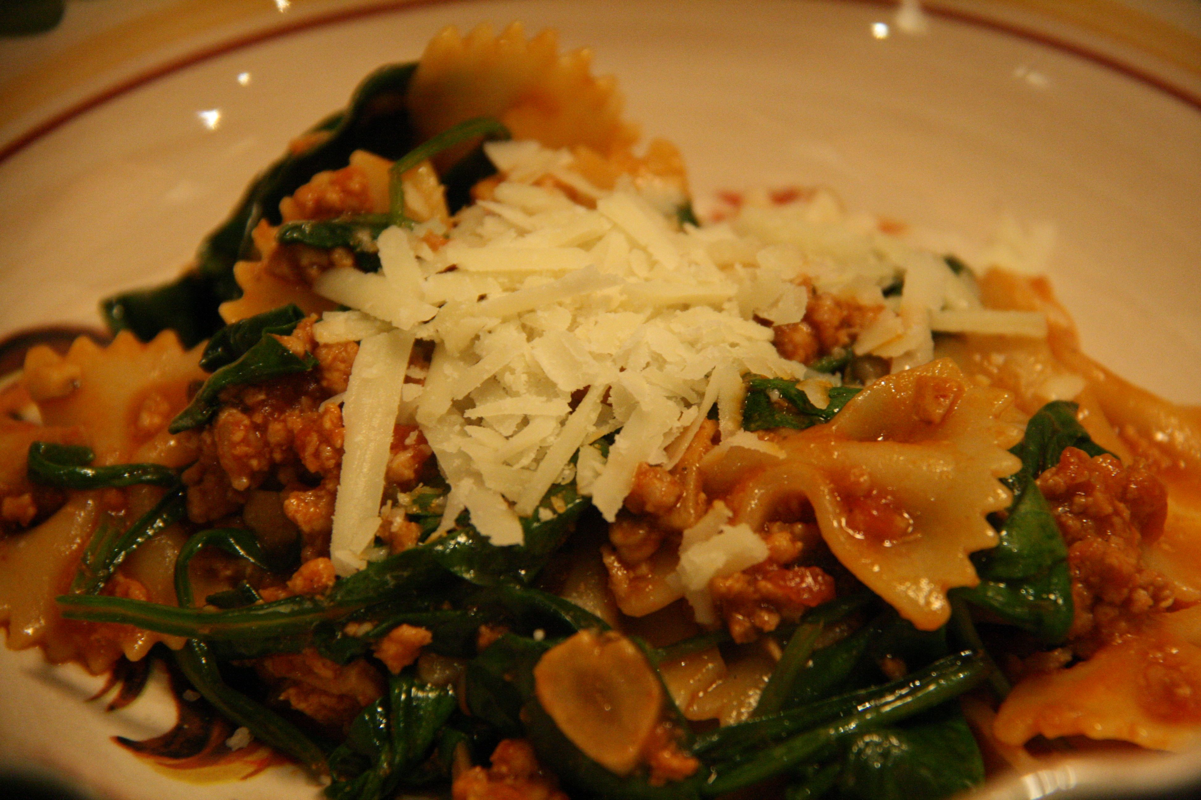Deliciousness: Farfalle Abruzzese with Veal, Porcini, and Spinach