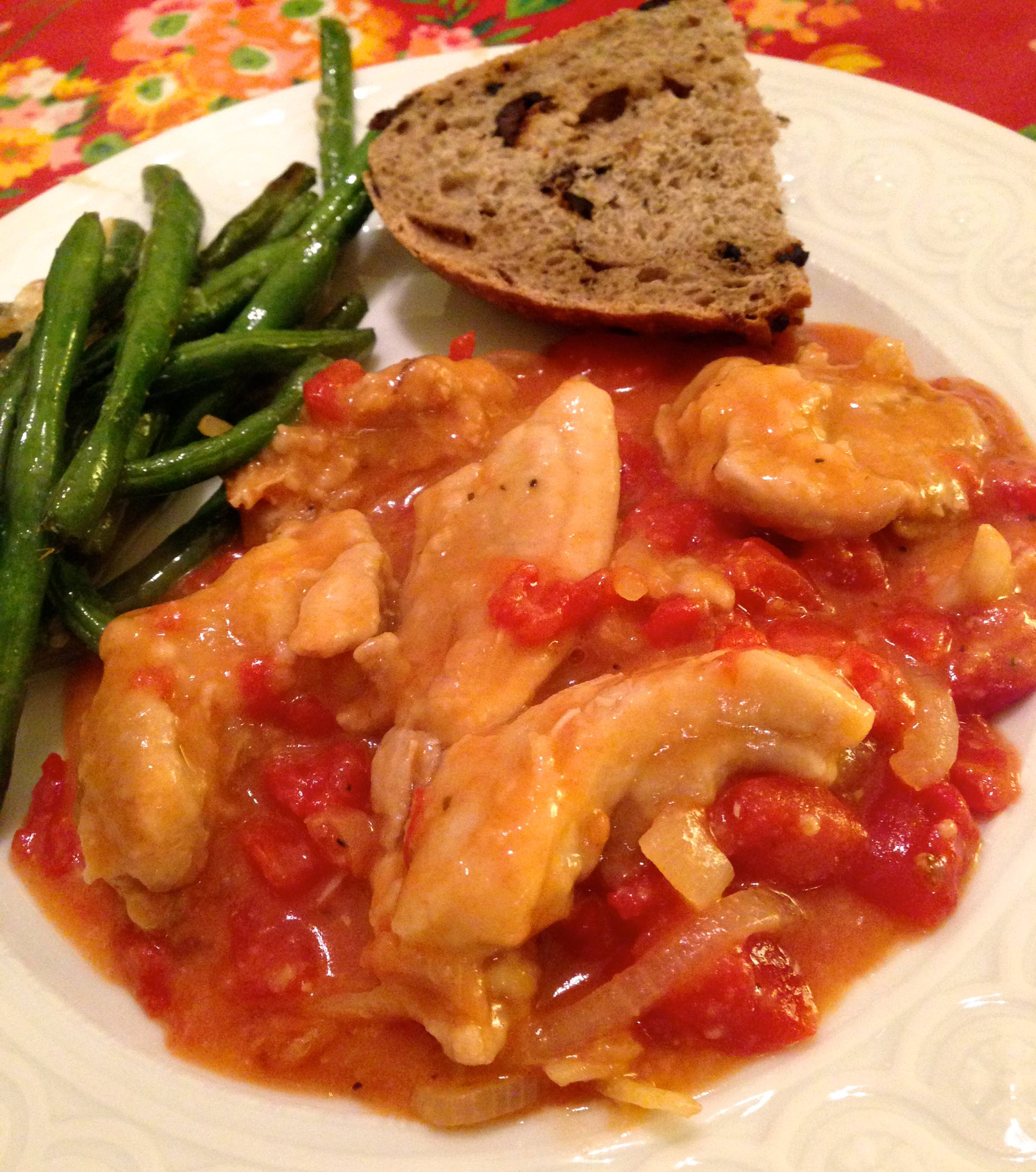 Chicken Braised with Red Wine Vinegar & Tomatoes