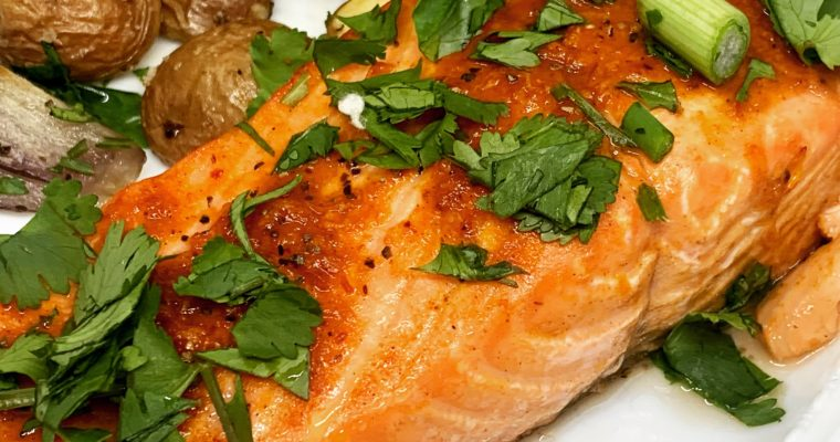 Sheet Pan Dinners: Harissa Salmon with Potatoes and Citrus